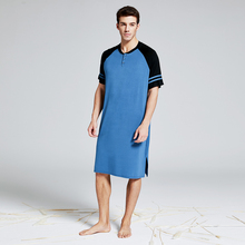 Heren Summber Katoenen Lange T shirt Henley Sleepshirt Korte Mouw Nachtkleding Oversize Plus Size Comfy Housewear Pyjama