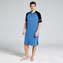 Summber Algodão Longo T shirt dos homens Henley Sleepshirt Pijamas de Manga Curta Big & Tall Plus Size Confortável Pijama Housewear