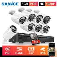 SANNCE 8CH 1080P FHD POE Sicherheit System H.265 5MP NVR Mit 4X 6X 8X 2MP Outdoor Wetterfeste Audio Record IP Kameras CCTV Kit