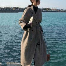Elegant Long Women's Lapel Wool Coat Turn-down Collar Trench Jacket Solid Color Long Sleeve Overcoat Female Long Coat lapel collar adjustable sleeve trench coat