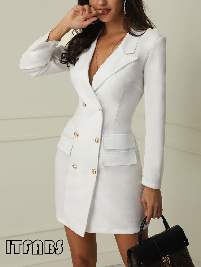 H24c81416d8844c64b1082fbcd537d7e1s Autumn Winter Suit Blazer Women 2019 New Casual Double Breasted Pocket Women Long Jackets Elegant Long Sleeve Blazer Outerwear