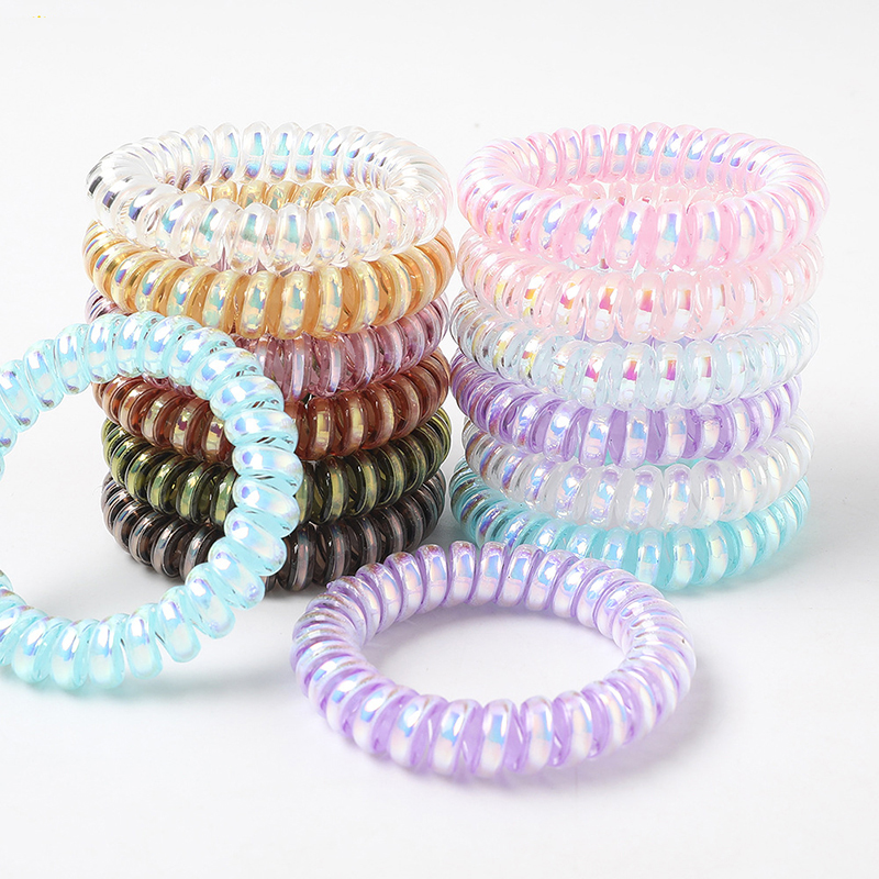 Small Thin Colorful Elastic Plastic Rubber Spiral Coil Telephone Cord Wire No Crease Hair Ties Scrunchies Hair Ring Band