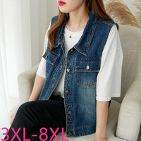 2019 autumn winter plus size coat for women lapel casual loose sleeveless denim short vest blue clothes 3XL 4XL 5XL 6XL 7XL 8XL