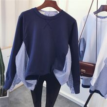 2019 fashion women patchwork hoodie shirt long sleeve blue striped cotton sweatshirt female oversize street pullovers top(China)