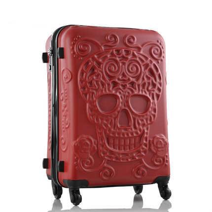 CALUDAN persönlichkeit mode 19/24/28 Zoll Rolling Gepäck Spinner marke Reise Koffer original 3d schädel gepäck