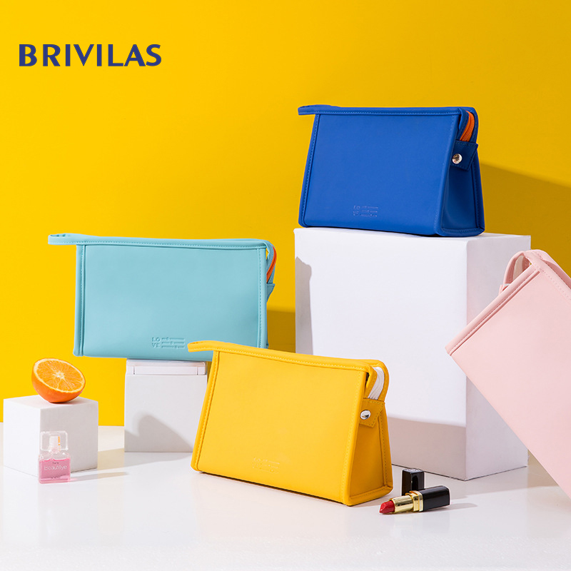 Brivilas New Pu Cosmetic Bag Waterproof Fashion  Women Travel Wash Storage Multifunction Makeup Bags  Candy Colors Toiletry Bag