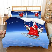 Funny Santa Claus Blue White Bedding Set Pine Snow Moon Printing 3D Duvet Cover Set Double Queen Comforter Set 2/3Pcs for Kids(China)