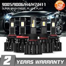 Novsight h7 led h4 h11 9006 9005 faróis do carro lâmpadas 100w 20000lm decodificador automóvel led farol luzes dianteiras 6000k 12v 24v