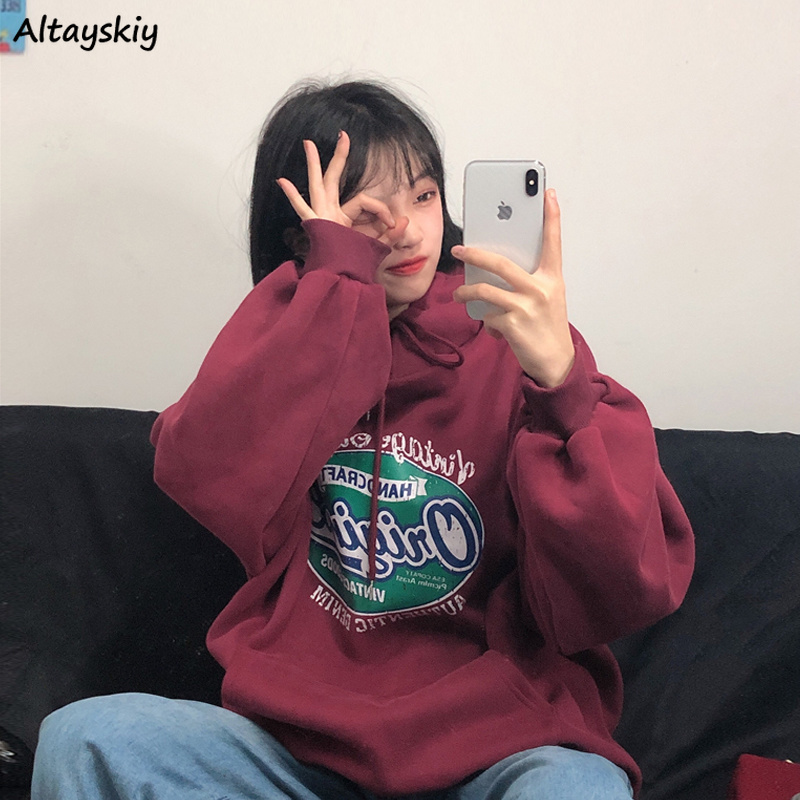 Hoodies Women Boyfriend Oversize New Korean Style Harajuku Womens Printed Sweatshirt Pullover Hip-Hop Unisex Loose Streetwear