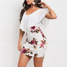 Mulheres sexy sem mangas floral impresso vestido de festa bodycon férias curto mini vestido de festa feminino longo ver o # g30