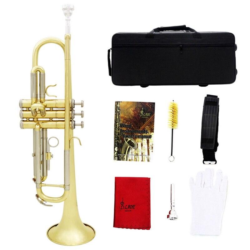 Slade Trompet Bb B Flat Duurzaam Messing Trompet Beginner Muziekinstrument met Mondstuk Handschoenen en Prachtige Gig Bag