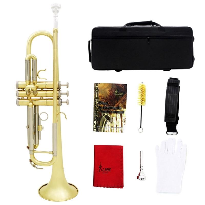 Slade trompette Bb B plat Durable en laiton trompette débutant Instrument de musique avec embouchure gants et exquis Gig Bag