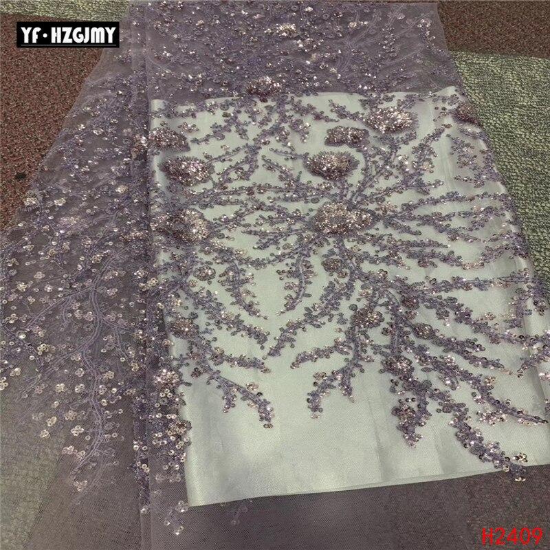YF HZGJMY violet clair perlé/paillettes Tulle tissu dentelle nigérian 2019 africain broderie Net dentelle français tissu pour la fête A2409