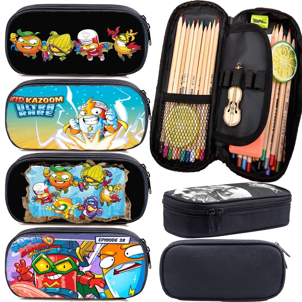 Cartoon Boys Girls Super Zings Pencil Case Students Superzings Pen Bag Teens Stationery Bag Kids Pencil Holder Surprise Gifts