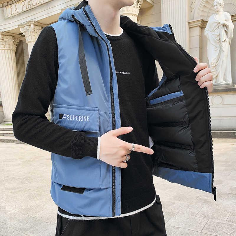 TFETTERS คนรักสไตล์ใหม่แจ็คเก็ตผู้ชาย 2020 เสื้อกันหนาวสำหรับผู้ชายแขนกุดฤดูหนาวเสื้อกั๊กชายเสื้อลำลอง m-4XL