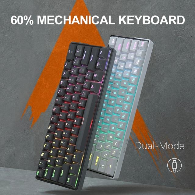 KEMOVE SnowFox 61 Key Mechanical Keyboard Switch 60% NKRO Bluetooth PBT Keycaps Wireless Wired Gaming Keyboard PC TABLET vs DK61