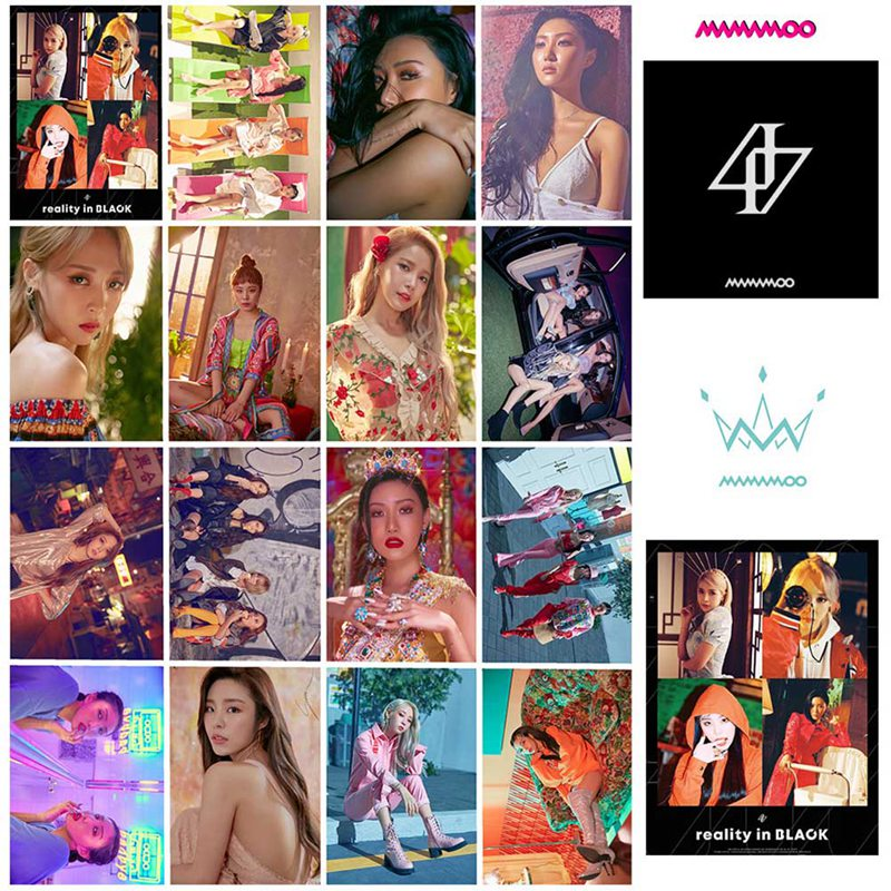 16Pcs/Set MAMAMOO Album Reality In BLACK Self Made Paper Lomo Card Photo Card Poster Photocard Fans Gift Collection