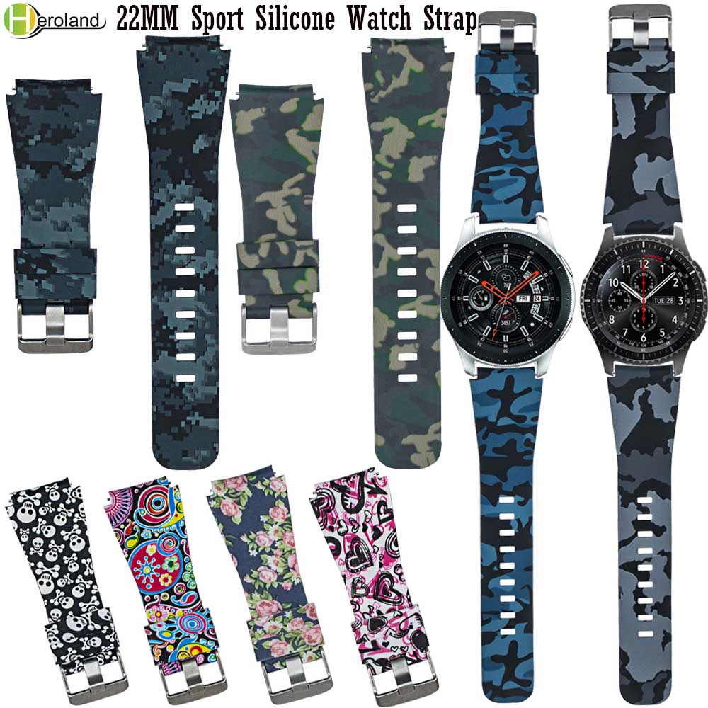 22MM Sport Silicone Watch Strap For Samsung Gear S3 Frontier Classic / Galaxy Watch 46mm Smart Watchband Printing Pattern Straps