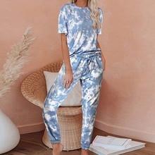 2020 Tie Dye Lounge Set Summer Pajamas Women Pajama Set Sleep