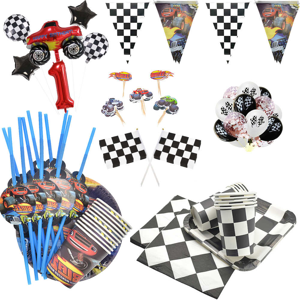 Hot Zwart Wit F1 Racing Car Party Blaze Monster Machines Ontwerp Verjaardagsfeestje Decoraties Kids Helium Ballon Feestartikelen