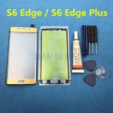 S6 + przednia zewnętrzna szklana osłona obiektywu wymiana dla Samsung Galaxy S6 krawędzi Plus G928 G928F S6Edge G925 LCD szkło i B 7000 narzędzie do klejenia