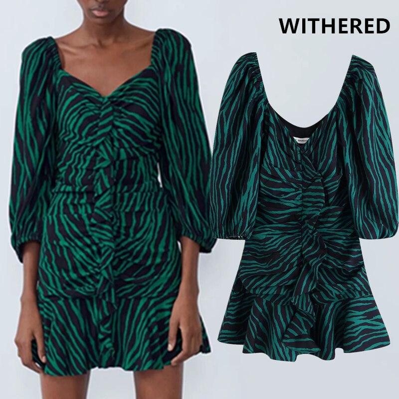 Withered England High Street Vintage Cascading Zebra Print Puff Sleeve Dress Women Vestidos Vestidos De Fiesta De Noche Blazer