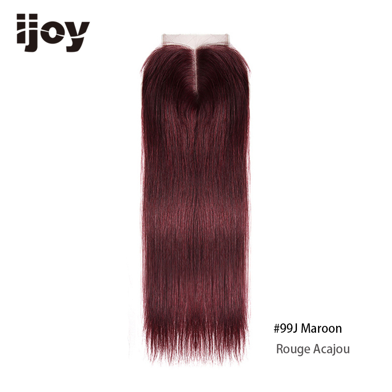 Image 4 - Brazilian Closure With Color Human Hair 4x4 Lace Blonde Closure Red 8 20 Non Remy 99J Closure Straight Hair Extension IJOYClosures   -