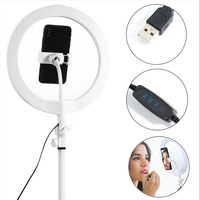 10 LED Ring Light for Makeup Mirror Fill Light Dimmable Lamp Studio Photo Phone Video Live Photography Selfie Light USB Cable