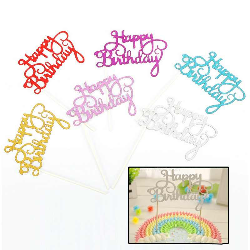 Kids Adult Paper Letter Cupcake Toppers Party Supplies Cake Flag Cupcake Toppers Happy Birthday Party Decorations