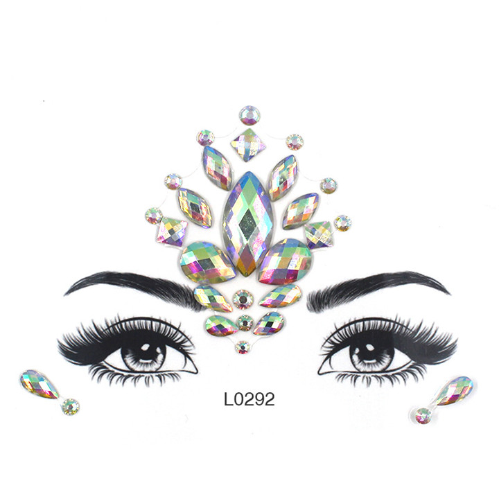 4  Acrylic Jewelry Stickers Colorful Rhinestone Face Stickers For Women Eyebrow Eye Masquerade Decor Resin DIY Drill Face Sticker