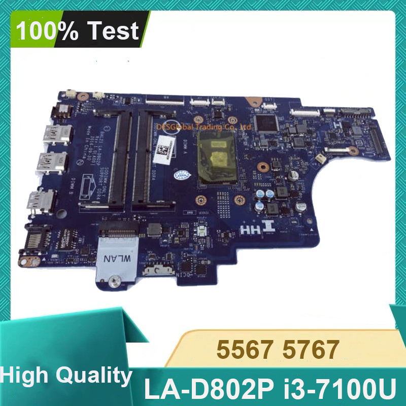 CN-057K0H 057K0H 57K0H BAL21 LA-D802P For Dell Inspiron 15 5567 5767 Laptop Motherboard Mainboard I3-7100U Fully Tested