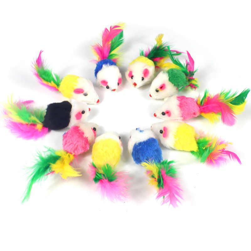 Pawstrip 부드러운 양털 False 마우스 고양이 장난감 고양이를위한 다채로운 깃털 재미 있은 재생 장난감 새끼 고양이 대화 형 공 고양이 장난감 Catnip