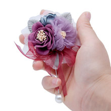 Korean Handmade Fashion Beautiful Fabric Flower Long Needle Brooch Lapel Pins and Brooches for Women Corsage Wedding Accessories(China)