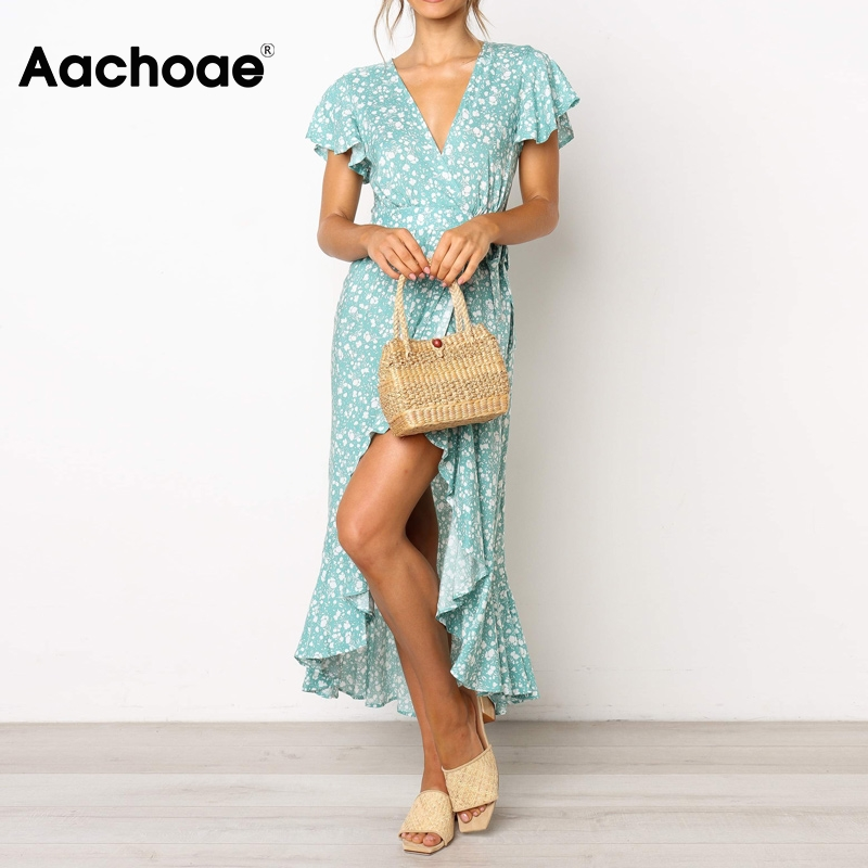 Elegant Floral Print Long Dress 2020 Summer Short Sleeve Boho Beach Dress V Neck Split Ruffles Maxi Dresses Vestido De Verano