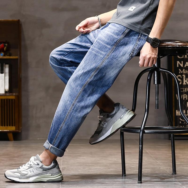 Baggy Jeans Men Harem Pants Loose Fit Spring Summer Lightweight Light Blue Wide Leg Pants Male