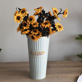 Retro Thickened Iron Sheet Dry Flower Bucket Flowerpot Office Home Decoration image