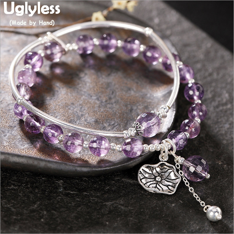 Uglyless 2 Layers Infinity Bracelets for Women Adjustable Elastic Rope Purple Crystal Bracelets Real 925 Silver Jewelry BR253