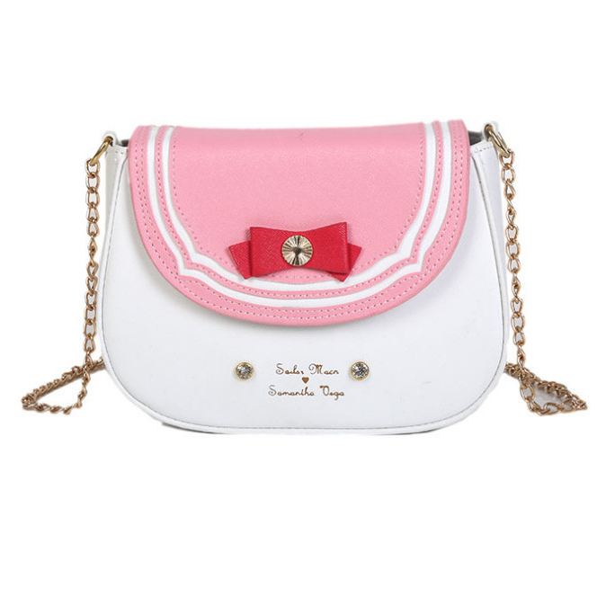 Fun Cute Sailor Moon Bow-knot Shoulder Messenger Purse Bag Women Chains Pu Leather Hit Color Crossbody Bag Ladies Handbag