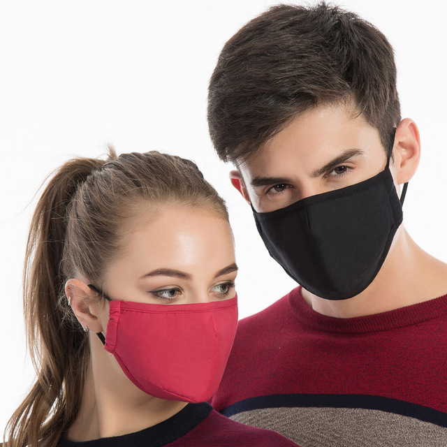4set Cotton Black Mask Mouth Face Mask Anti PM2.5 Dust Mouth Mask  Activated Carbon Filter Mask Fabric Face Mask washable 1