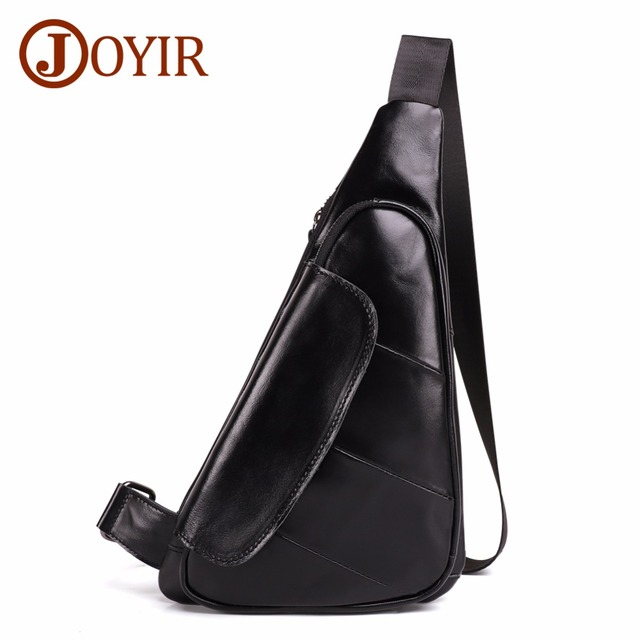 JOYIR Men Triangle Cow Leather Shoulder Bag Travel Genuine Leather Chest Bag Strap Sling Casual Chest Pack Crossbody Bag for Men