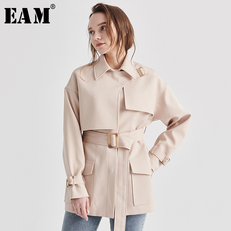 [EAM] Loose Fit Bandage Apricot Temperament Big Size Jacket New Lapel Long Sleeve Women Coat Fashion Tide Spring 2020 1S108
