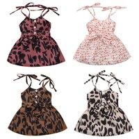 Verano encantadora niños niñas vestido sin mangas estampado de leopardo vestido cinturón Botón de línea Mini vestido, 4 colores trajes 0-4Y