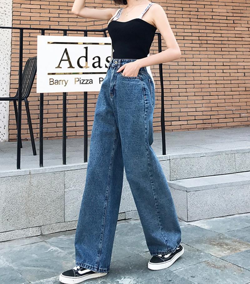 High Waisted Boyfriend Jeans For Women Blue Fashion Casual Solid Denim Wide Leg Pants Baggy Loose Mom Feminina Streetwear 0146