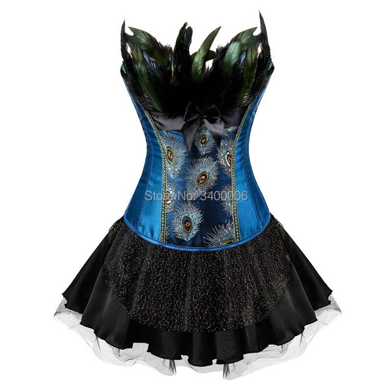 孔雀刺繍王女の衣装バーレスク Overbust コルセットドレスショーガールダンスチュチュスカート羽 Bodyshaper プラスサイズ