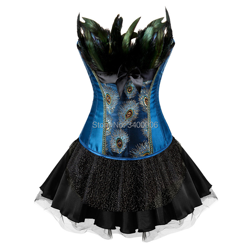 Peacock Embroidery Princess Costumes Burlesque Overbust Corsets Dresses Showgirl Dance Tutu Skirt Feather Bodyshaper Plus Size
