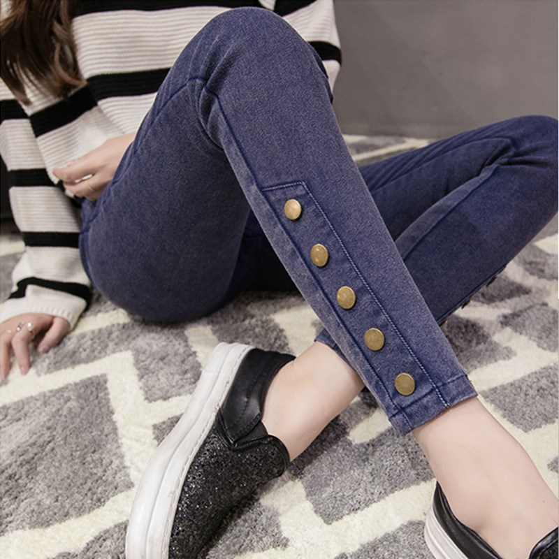 Nice Female Black Blue High Waist Boyfriend Jeans Slim Stretch Skinny Pencil Pants Women Elastic Waist Jeans