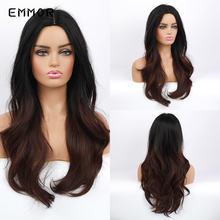 Emmor/длинные волнистые черные и коричневые волосы с Омбре парик
