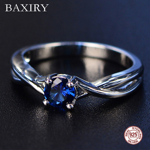 Trendy Gemstones Amethyst Silver Ring Blue Sapphire Ring Silver 925 Jewelry Aquamarine Ring For Women Engagement Rings(China)