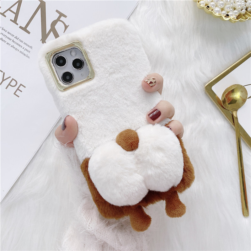 Cute Warm Fuzzy Dog Butt Phone Case For iPhone 12 Pro