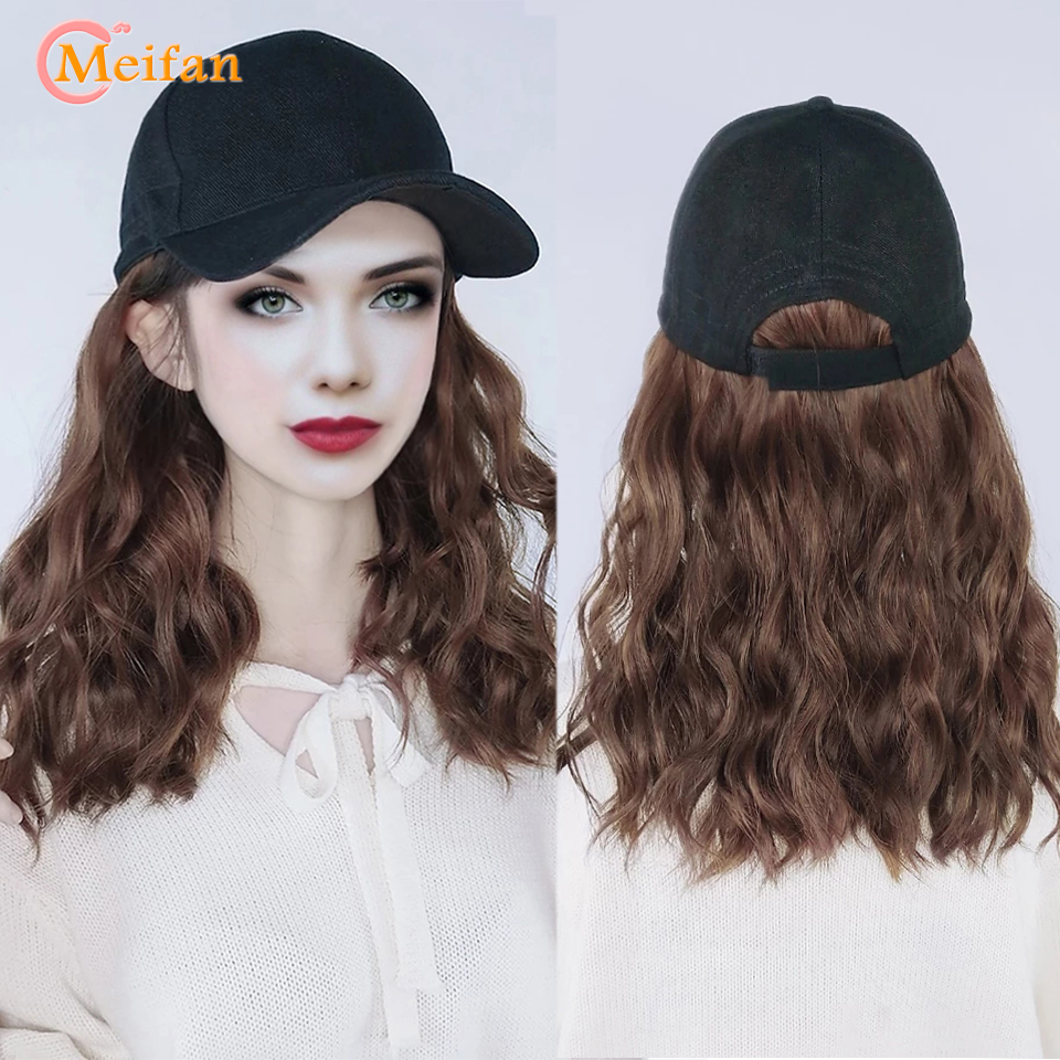 MEIFAN Long Synthetic Fluffy Natural Wave Wavy Curly Hair Wigs with Hat Baseball Cap Naturally Connect Adjustable Hat Wig